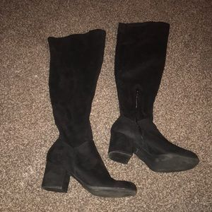 Christian Siriano Knee High Black Suede Boots